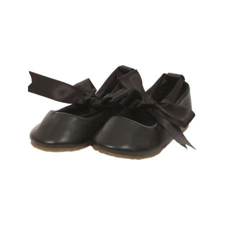 Kids Dream Black Ballerina Ribbon Tie Rubber Shoe Baby Toddler Girl 3-10