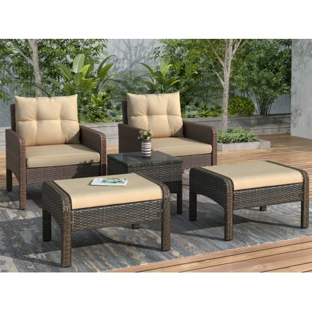Rattan Wicker Patio Furniture Set, Patio Bistro Set, 5 Piece Conversation Set with Chairs Stools and Glass Coffee Table, Modern Style Outdoor Patio Set, All-Weather Outdoor Furniture Set, Brown, Y0238