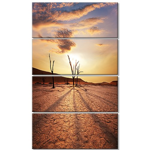 Design Art 'Amazing View of A Dead Valley' 4 Piece Photographic Print on Wrapped Canvas Set