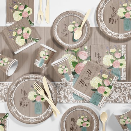 Large Rustic Wedding Mr & Mrs Party Supplies Kit