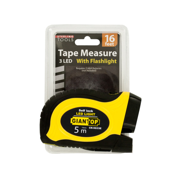 Self-Locking Tape Measure With Led Flashlight (Pack Of 1)