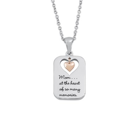 Stainless Steel Two-Tone Dog Tag Mom Pendant, 18 Chain plus 2 -