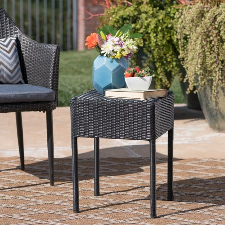 Wicker Accents - Mcfarland Wicker Outdoor Accent Table, Black