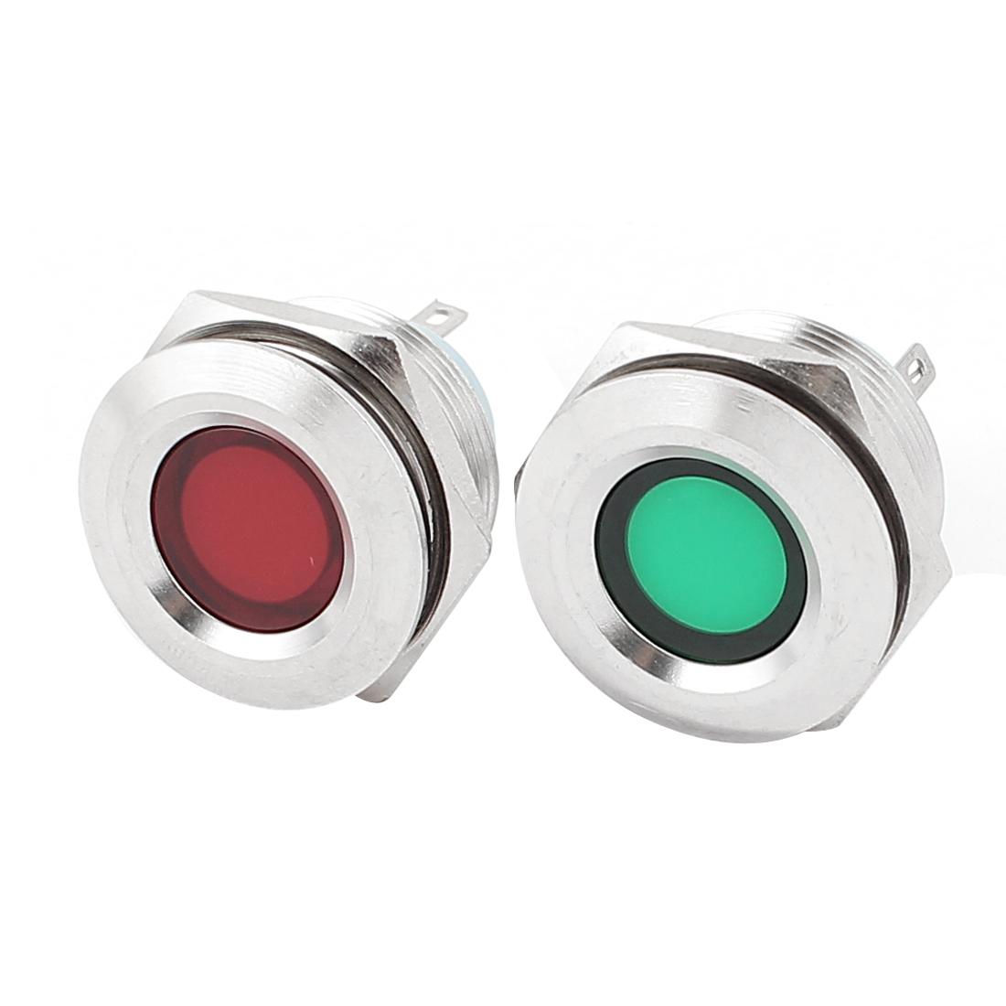 Unique Bargains 2Pcs 22mm Mounted Thread DC 12V Red Green  Indicator Light Set