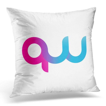 CMFUN Idea Initial Letter Qw Linked Round Lowercase Pink Blue Purple Abstract Pillow Case Pillow Cover 18x18 inch - Pink And Purple Room Ideas