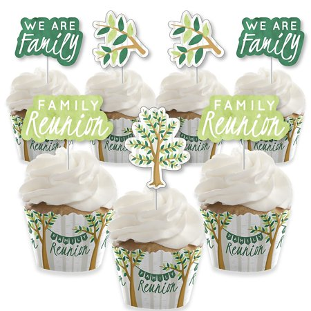 Family Tree Reunion - Cupcake Decoration - Family Gathering Party Cupcake Wrappers and Treat Picks Kit - Set of (Basic Grey Cupcake)