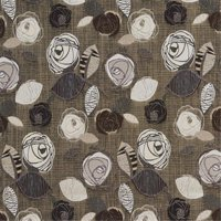 Designer Fabrics A380 54 in. Wide Brown Silver And Ivory Leaves And Roses Tweed Textured Metallic Upholstery Fabric