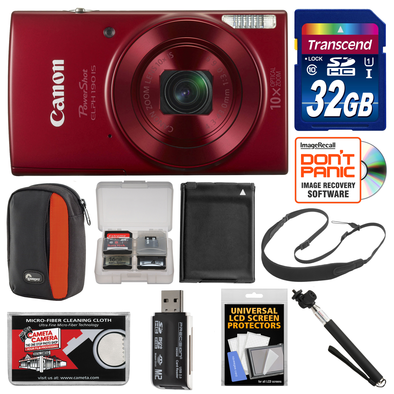 Canon PowerShot Elph 190 IS Wi-Fi Digital Camera (Blue) with 32GB Card + Case + Battery + Selfie Stick + Sling Strap + Kit