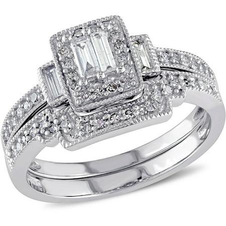Baguette Diamond Wedding Set Setting (2/5 Carat T.W. Parallel Baguette and Round-cut Diamond 10kt White Gold Halo Bridal Set)
