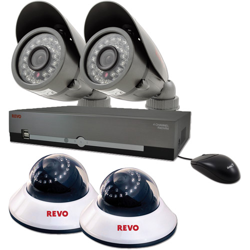 Revo America 4-Channel 500GB DVR Surveillance System with Four 600TVL 80' Night Vision Cameras