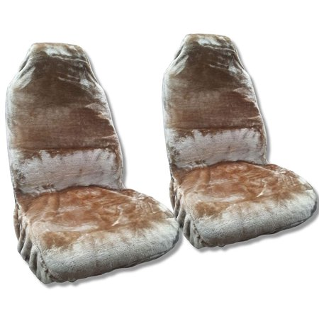 Synth Sheepskin Seat Cover Pair Beige Tan PLUSH Fleece For Jeep Liberty Low Back Seats