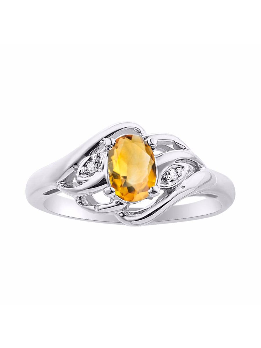 Diamond & Citrine Ring Set In Sterling Silver Birthstone DSL-LR6424CTW by Rylos