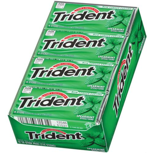 Trident Sugar Free Gum Spearmint 12 pack (18 ct per pack)...