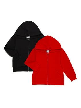 Wonder Nation Baby Boy & Toddler Boy Zip-Front Hoodie Sweatshirt, 2-Pack (12M-5T)