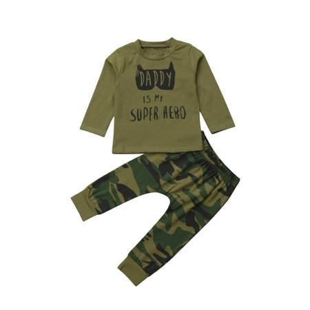 Baby Boy Girl Camouflage Long Sleeve T-Shirt Tops with Daddy is Hero Print+Green Long Pants Outfit Casual - Green Foil Camo Girl