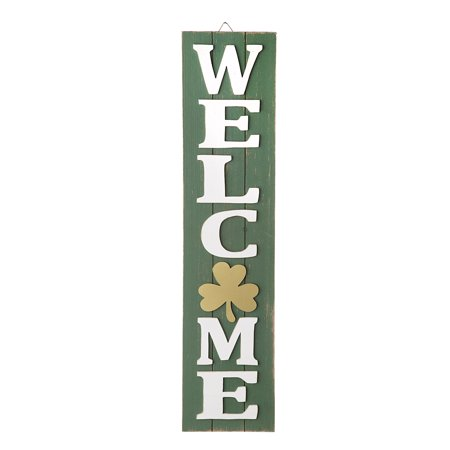 Welcome Shamrock Sign: Wood, 6.75 x 29.5 inches