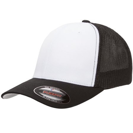 8d4481b9bb366 The Hat Pros Fitted Hat Mesh Cotton Twill Trucker Flexfit Cap 6511T ( Black  White Black) - Walmart.com