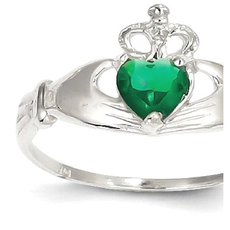 14kt White Gold Cubic Zirconia Cz May Birthstone Irish Claddagh Celtic Knot Heart Band Ring Size 7.50 Style Fine Jewelry Ideal Gifts For Women Gift Set From Heart