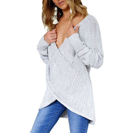 1e969b77c2 Sexy Dance - Women Winter Knitted Loose Cross V Neck Pullover Sweater Long  Sleeve Knit Autumn Jumper Casual Cardigan Knitwear Tops - Walmart.com