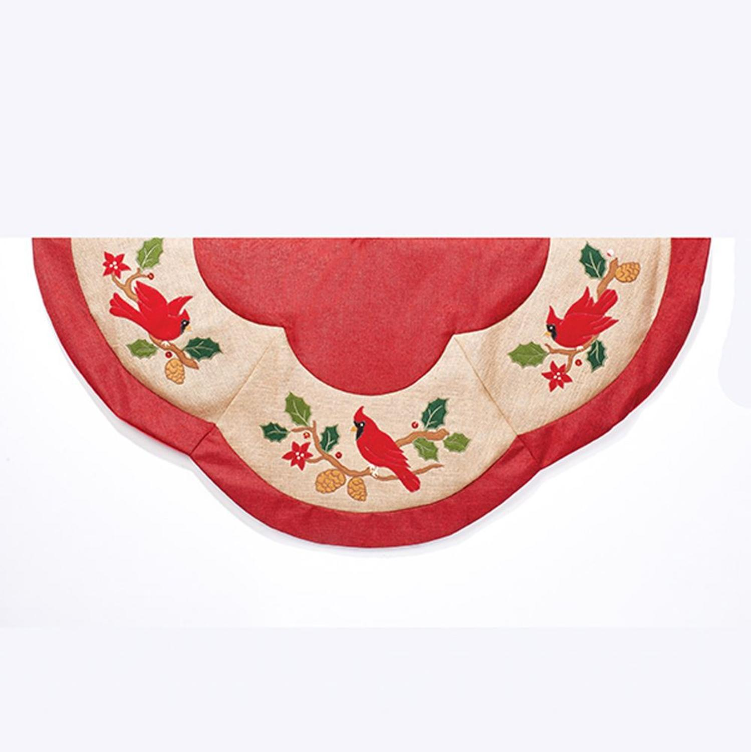 "48"" Red and Beige Cardinal Appliques Embroidered Scalloped Edge Tree Skirt"