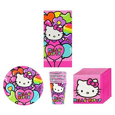 New Sanrio Hello Kitty Rainbow Birthday Party Supplies Pack Bundle Kit Including Plates, Cups, Napkins and Tablecover - 8 - Rainbow Cups And Plates