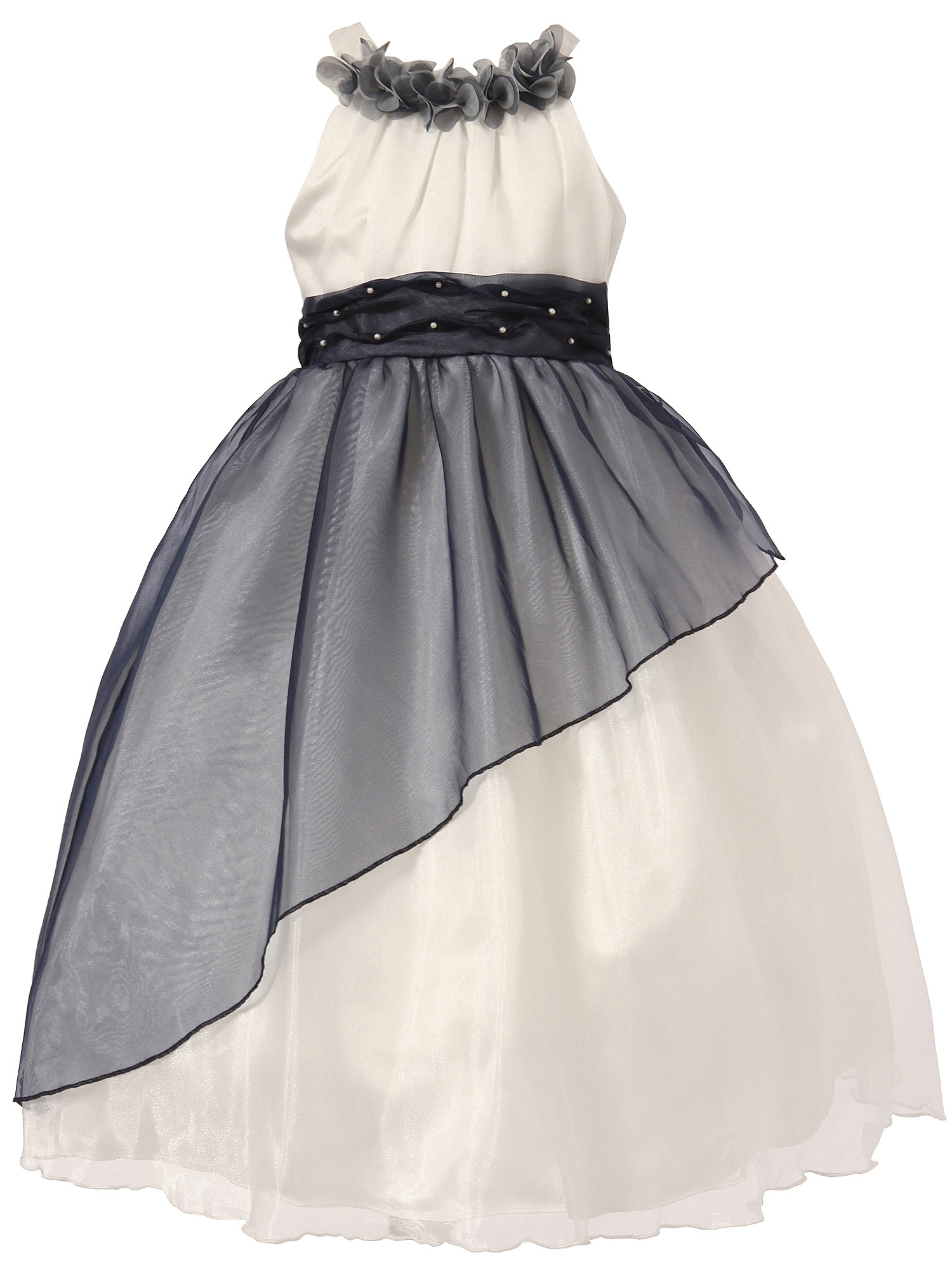 Richie House Little Girls White Blue Tulle Overskirt Pearl Gown 24M