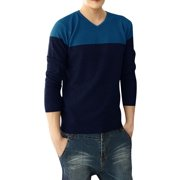 Pullover Contrast Color Splice Royalblue Dark Blue Sweater S for Man