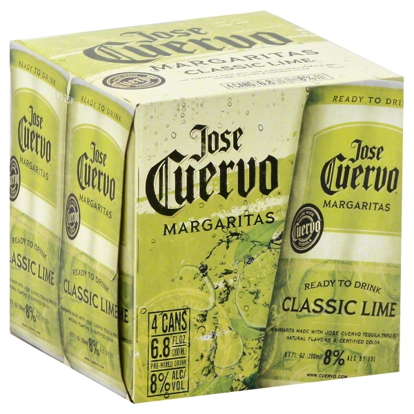 Jose Cuervo Classic Lime Margaritas, 4 pack, 6.8 fl oz