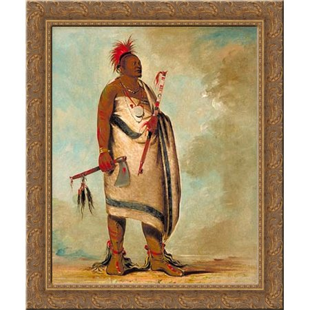 Osage Wood (Shonka Sabe (Black Dog). Chief of the Hunkah division of the Osage tribe 24x20 Gold Ornate Wood Framed Canvas Art by George Catlin)