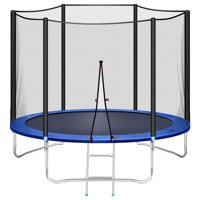 Trampoline 10 FT with Safe Enclosure Net, Kids Trampoline for Play & Exercise Indoor or Outdoor, 661 LB Capacity for 3-4 Kids, Waterproof Jump Mat, Backyard Trampoline Ladder for Adults Jump Sports