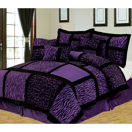 7 Piece Safari Purple And Black Patchwork Micro Suede