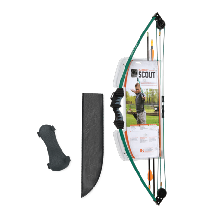 Encrusted Bow (Bear Archery Scout Youth Bow Set Includes Arrows, Armguard, Arrow Quiver, and Recommended for Ages 4 to 7 – Hunter Green )