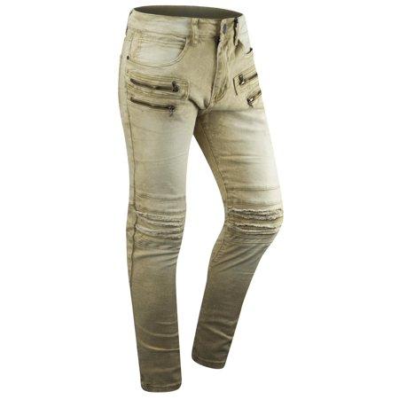 STEVE Pleated Knee Colored Denim stretch SKINNY distressed biker zipper pants