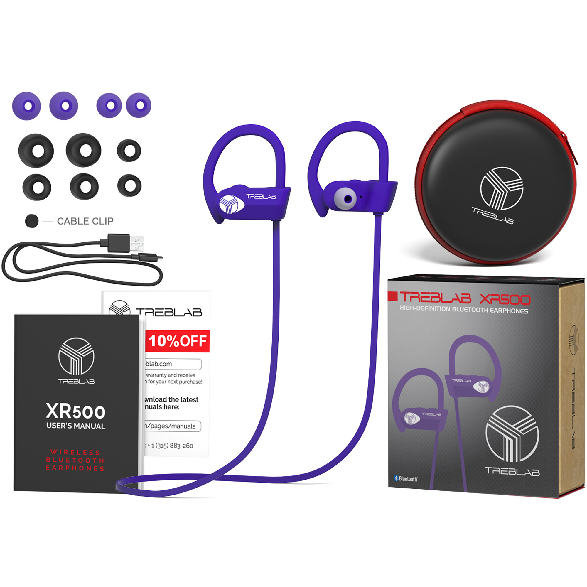 TREBLAB XR500 Bluetooth Headphones, Wireless Earbuds for Sports, Running or Gym Workout. IPX7 Waterproof, Sweatproof, Secure-Fit Headset.