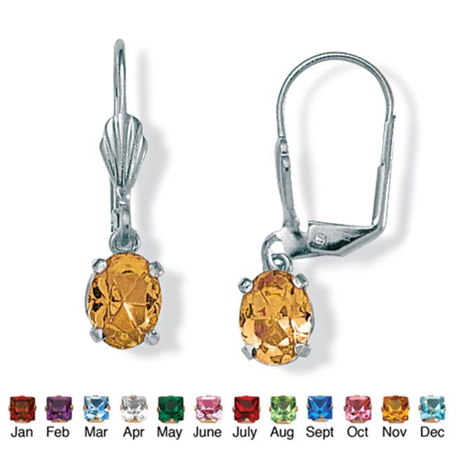 PalmBeach Jewelry 4785111 Oval-Cut Simulated Birthstone Silvertone Metal Drop Earrings November - Simulated Citrine