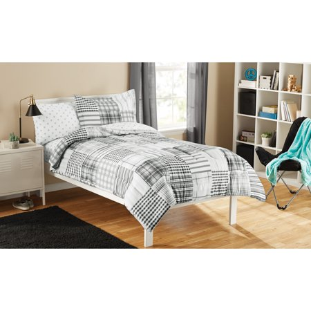 Mainstays Kid's Twin Gray Plaid Bed in a Bag, 1 Each