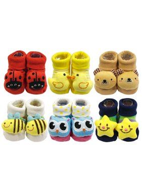 Wrapables® Cute 3D Cartoon Anti-Skid Baby Booties Sock Slipper Shoes (Set of 6)