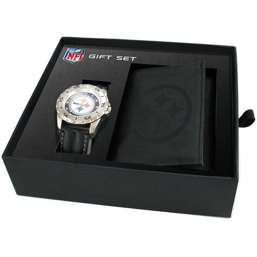 Game Time NFL Men's Pittsburgh Steelers Watch and Tri-Fold Wallet Set, Black