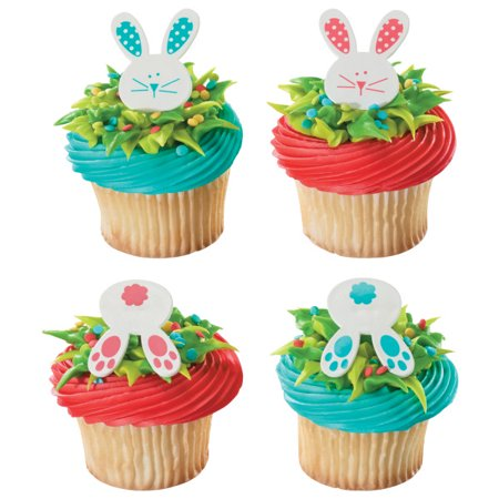 24 Easter Bunny And Tails Cupcake Cake Rings Birthday Party Favors Toppers - Easter Cupcake