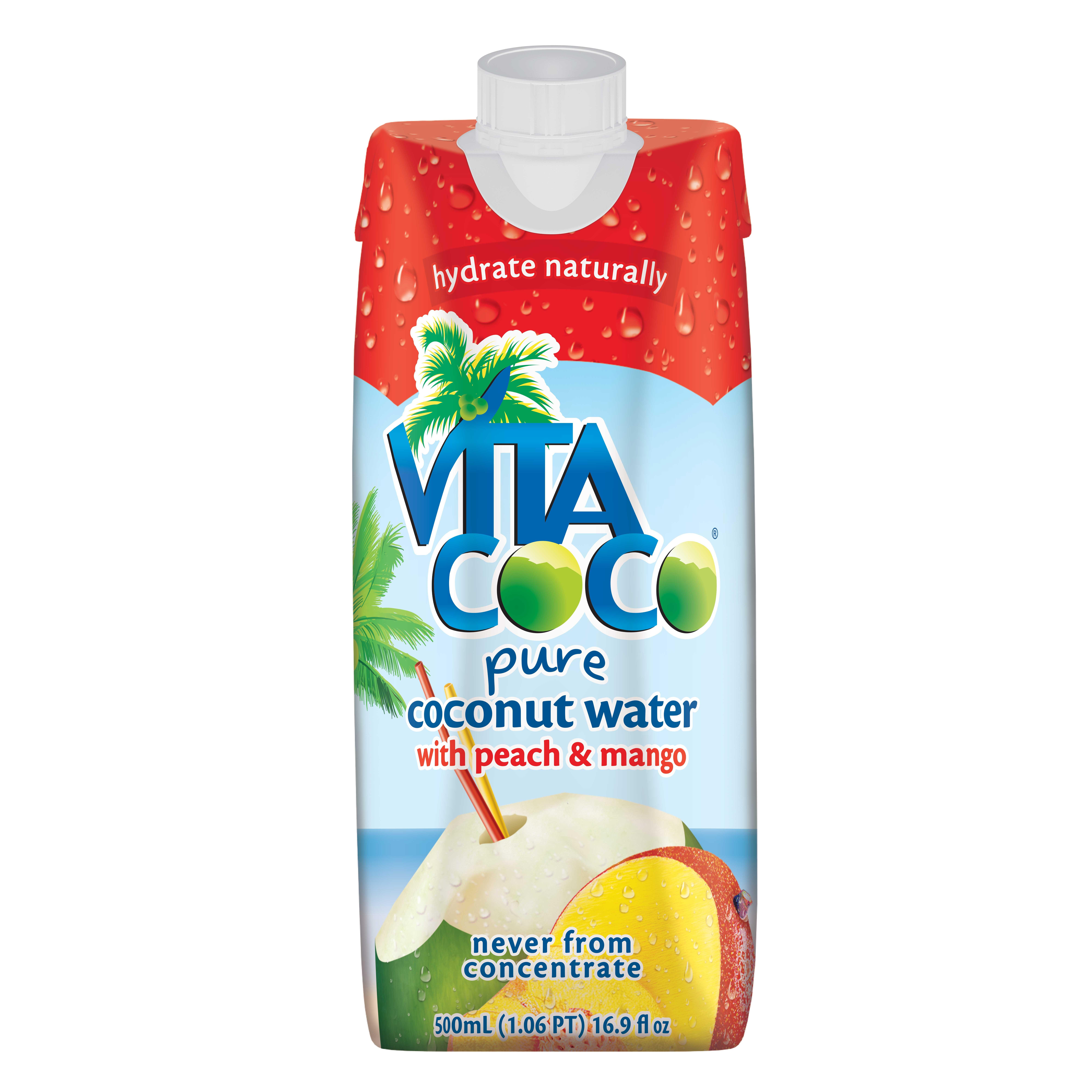 Vita Coco Coconut Water, Peach Mango, 16.9 Fl Oz, 12 Ct