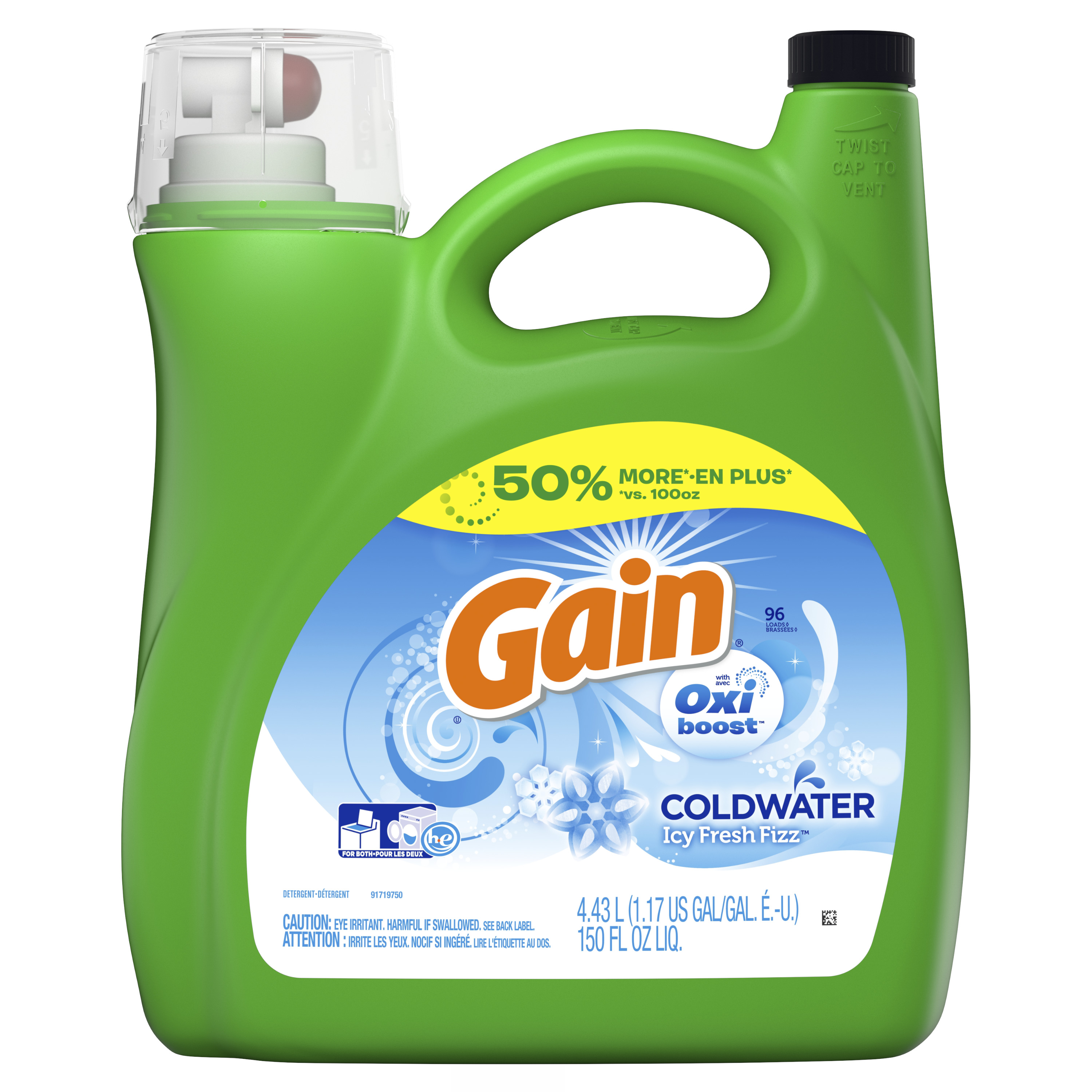 Gain Coldwater Liquid Laundry Detergent with Oxi Boost, Icy Fresh Fizz, 96 Loads 150 fl oz