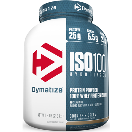 Dymatize ISO 100 Hydrolyzed 100% Whey Protein Isolate Powder, Cookies & Cream, 25g Protein/Serving, 5