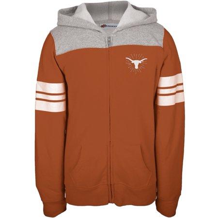 Texas Longhorns - Rhinestone Rays Logo Girls Juvy Zip Hoodie