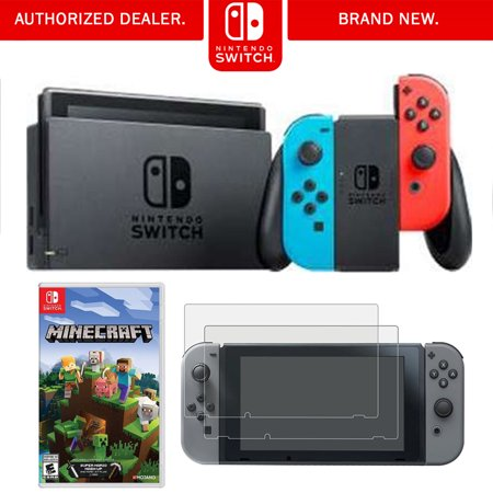Nintendo Switch 32 GB Console with Neon Blue and Red Joy-Con (HACSKABAA) with Switch Minecraft & Tempered Glass Screen Protector for Nintendo Switch 2017 (Gameboy Advance Sp Nes Edition For Sale)