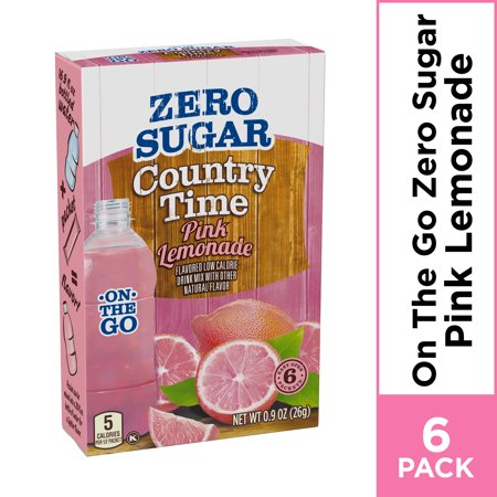 Country Time On-The-Go Zero Sugar Pink Lemonade Powdered Drink Mix, 6 ct - - Drink Mix Pink Lemonade