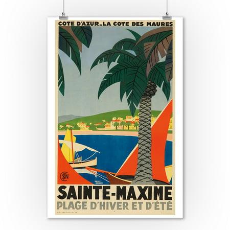 Sainte - Maxime Vintage Poster (artist: Broders, Roger) France c. 1928 (9x12 Art Print, Wall Decor Travel Poster)