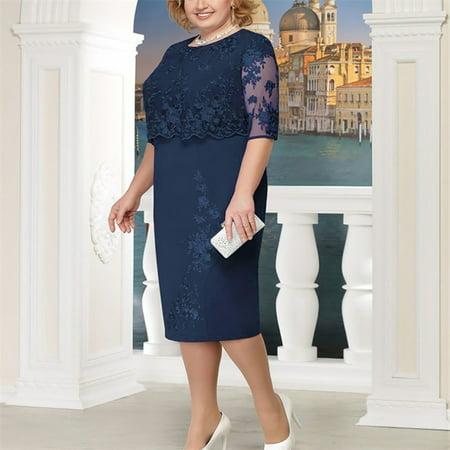 Women Fashion Lace Elegant Mother of Bride Dress Knee Length Plus Size Dress