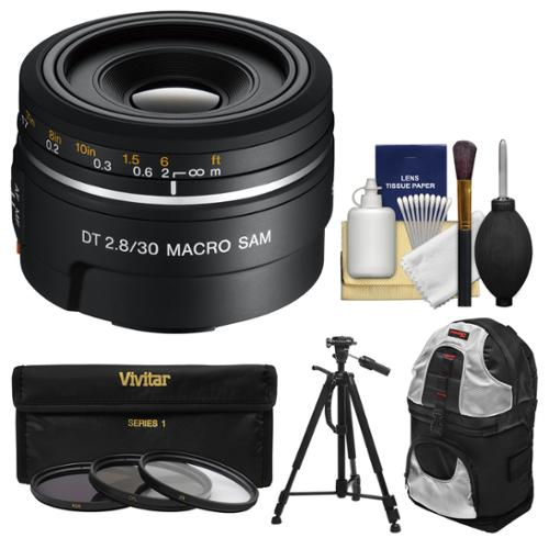 Sony Alpha A-Mount 30mm f/2.8 DT Macro SAM Lens with Sling Backpack + Tripod + 3 Filters + Kit for SLT-A37, A57, A58, A65, A77, A99 DSLR Cameras