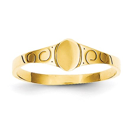 14k Yellow Gold Child's Oval Baby Signet (Yellow Gold Oval Signet Ring)
