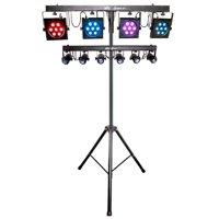 Chauvet DJ 4BAR TRI USB + 6-SPOT LED Stage Light Kit Bar System w/Travel Bags